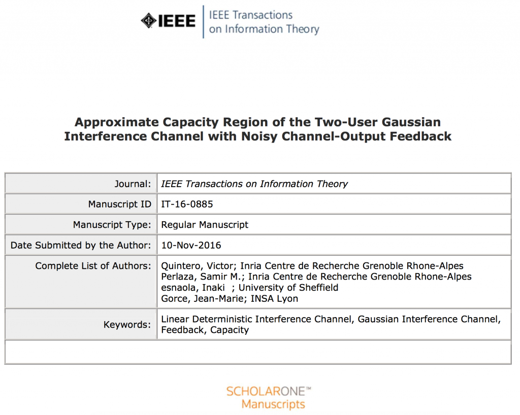 New Submission to IEEE Trans. Inf. Theory by Quintero, Perlaza ...